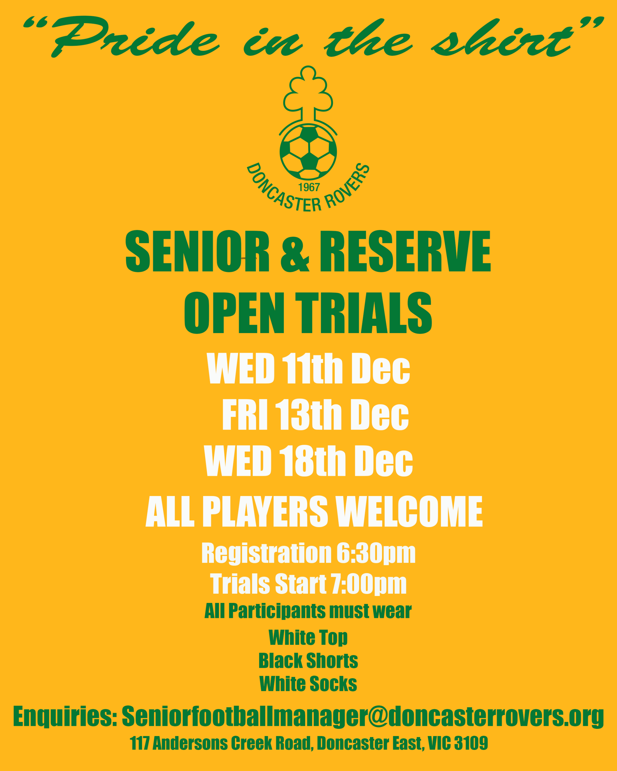 Senior & Reserve Trials