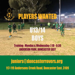 Seeking U13 & U14 boys